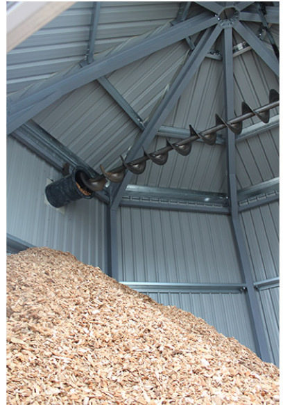 Inside the wood chip silo at Bicester Leisure Centre