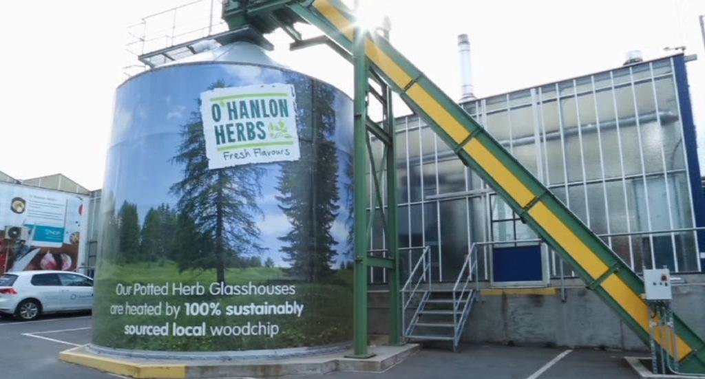 O'Hanlon Herbs woodchip conveyor and silo